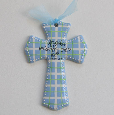 'Angels watching over me' Blue/Green Cross