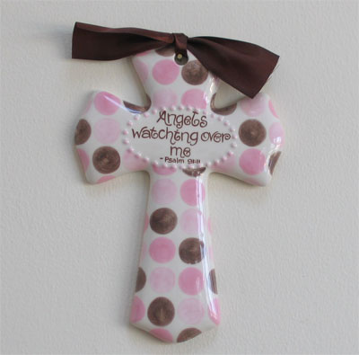 'Angels watching over me' Pink/Brown Dot Cross