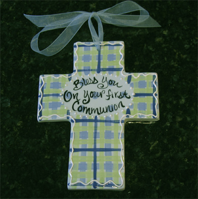 Bless You On Your First Communion Ceramic Wall Cross - Blue
