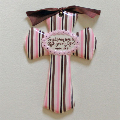 'Children are a Gift…' Pink/Brown Cross