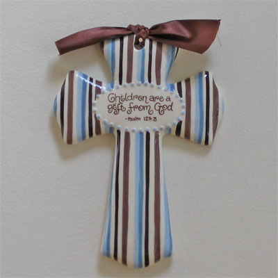 'Children are a Gift…' Blue/Brown Cross