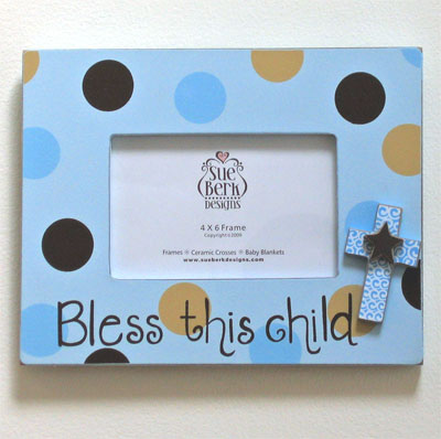 Bless this Child Blue Photo Frame
