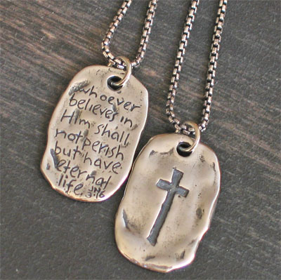 'Saved' - John 3:16 Sterling Silver Tag