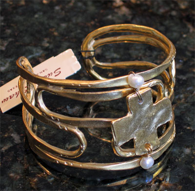 Handcast Gold Cross Cuff