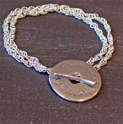 To be rich in love… Sterling Silver Toggle Bracelet