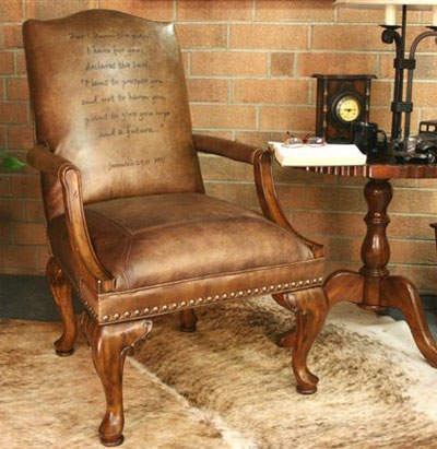 Leather Chair Embossed with Scripture