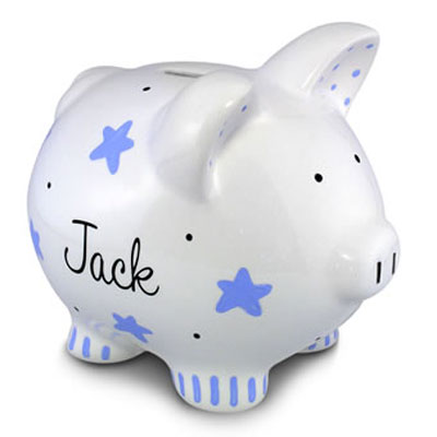Personalized Blue Star Piggy Bank