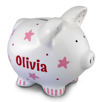 Personalized Pink Star Piggy Bank