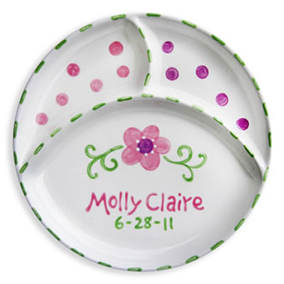 Personalized Flower Baby Birth Plate