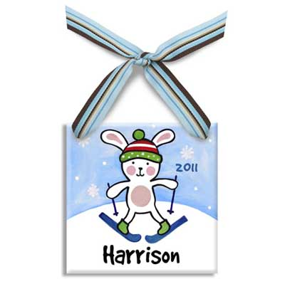 Personalized Snow Bunny Christmas Ornament For Boy