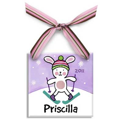 Personalized Snow Bunny Christmas Ornament For Girl