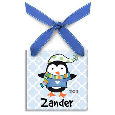 Personalized Polar Penguin Christmas Ornament for Boy
