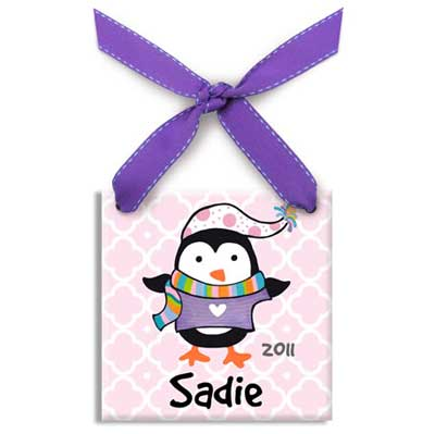 Personalized Polar Penguin Christmas Ornament for Girl