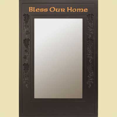 Bless Our Home… Black Wall Mirror