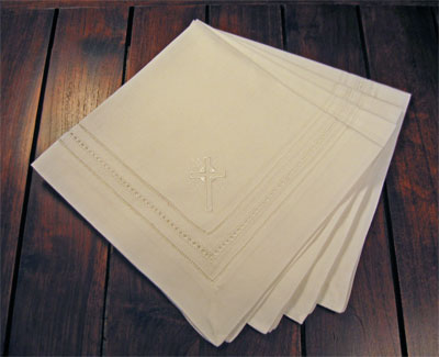 White Shining Cross Dinner Napkins - Set of Four