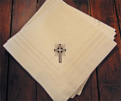 Black Shining Cross Dinner Napkins – Set of Four