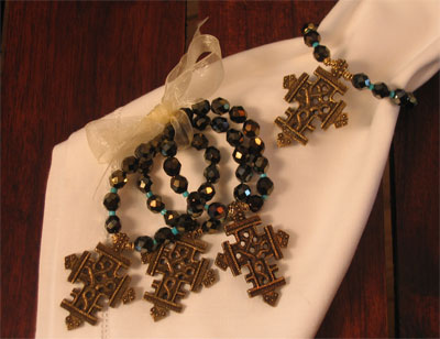 Crystal/Turquoise with Bronzed Cross Napkin Rings