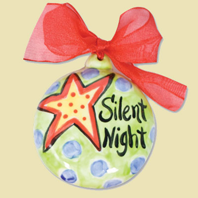 Silent Night Ceramic Handpainted Ornament