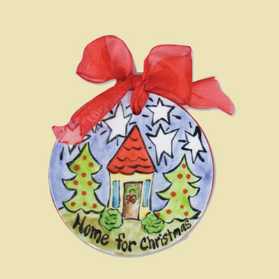 Home for Christmas Flat Ceramic Handpainted Ornament