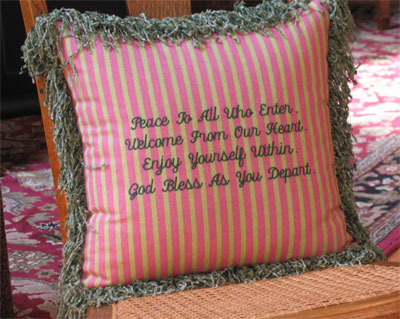 'Peace to All Who Enter...'  Embroidered Scripture Pillow