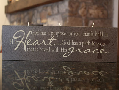 "Elements of Faith Candle – 4 x 13 – Charcoal """"Paved with His grace…"""""