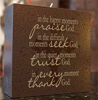 "Elements of Faith Candle – 6×6 – Chocolate """"Praise, Seek…"""""