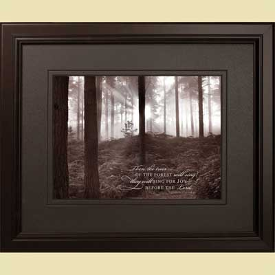 'Forest Mist I' Christian Framed Art – 1 Chronicles 16:33
