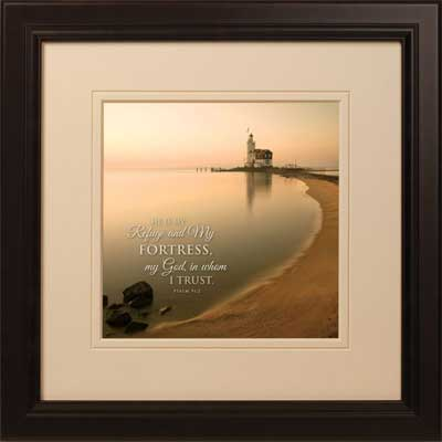 'Netherlands Lighthouse' Framed Christian Art – Psalm 91:2