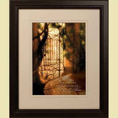 'Gates of Dawn' Framed Christian Art – Psalm 100:4