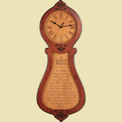 The Lord's Prayer Two Tone Cherry Clock