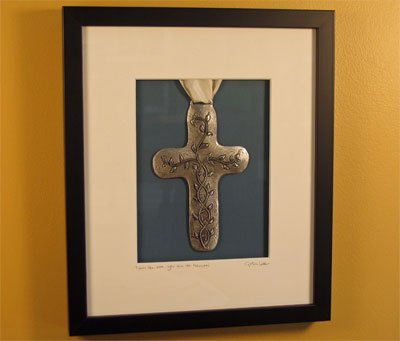 Cynthia Webb Framed Pewter Ornament – Vine Cross