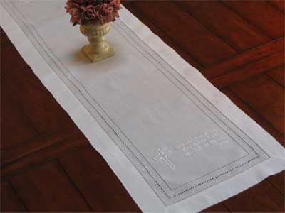 Cross & Dinner Blessing Table Runner – White