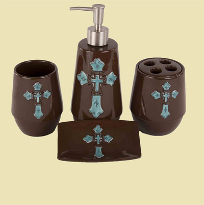 Bathroom Accessories w/Cross - 4 Piece
