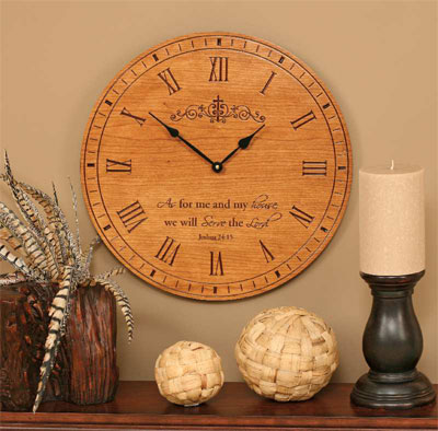 """As for Me and My House Stained 17″"""" Wall Clock"""