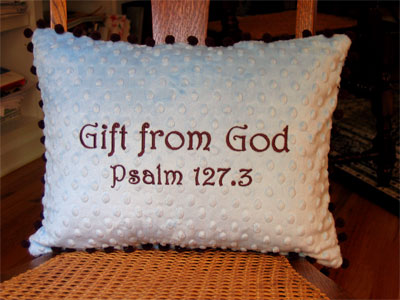 'Gift from God' Brown/Blue Pillow