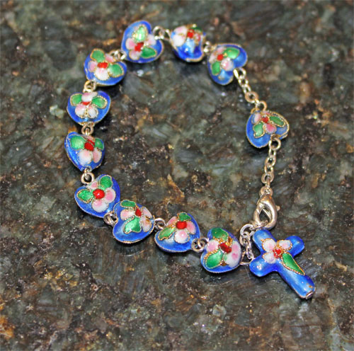 Rosary Bracelet with Blue Heart Beads