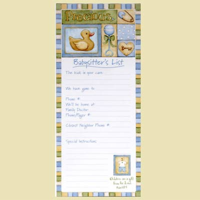 Precious Magnetic Babysitter's List – Blue