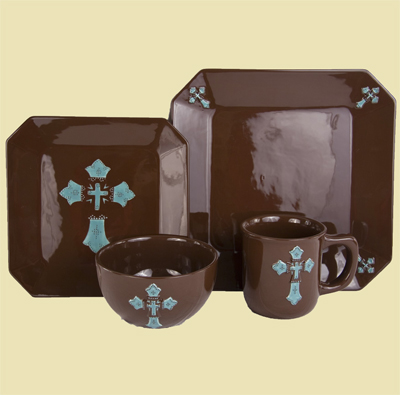 16 Piece Turquoise Cross Ceramic Dinnerware Set