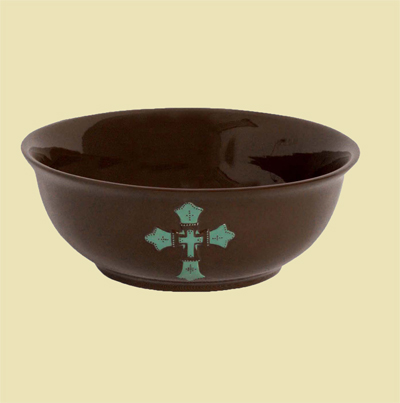 Turquoise Cross Ceramic Serving Bowl