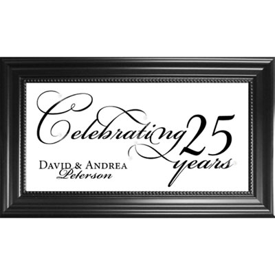 Personalized 25th Wedding Anniversary Plaque on Glass