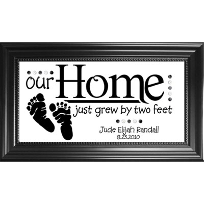 Personalized Birth Plaque on Glass – Two Feet