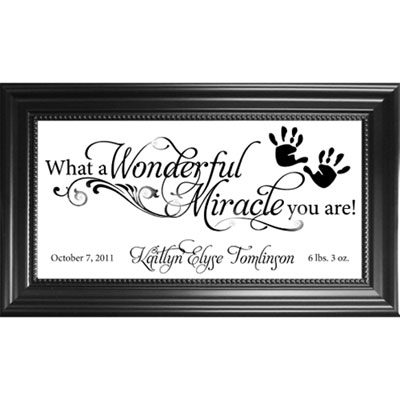 Personalized Birth Plaque on Glass – Miracle
