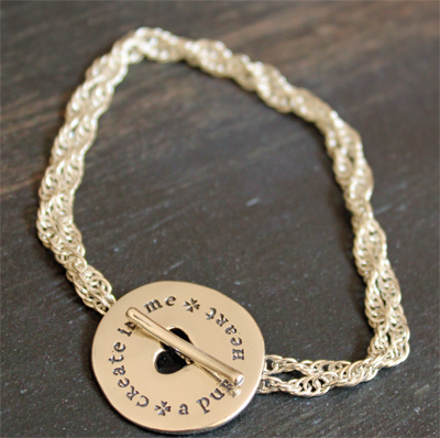 Psalm 51:10 Create in me a pure heart… Sterling Silver Toggle Bracelet