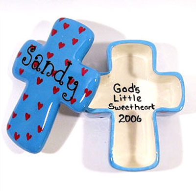 Personalized Ceramic Cross Box – Turquoise with Red Hearts