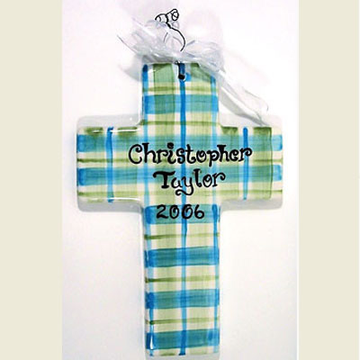 Personalized Cross – Turquoise/Olive Plaid