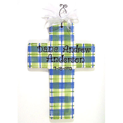 Personalized Cross – Blue/Green Plaid