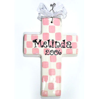 Personalized Cross – Checkered Pink