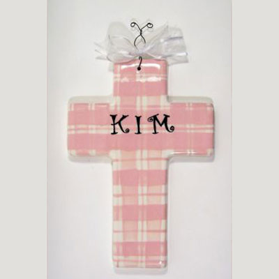 Personalized Cross – Pink Plaid
