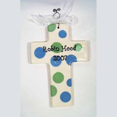 Personalized Cross – Blue Green Polka Dot