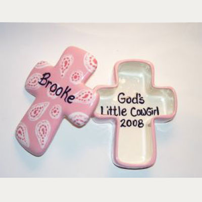 Personalized Ceramic Cross Box – Pink Paisley